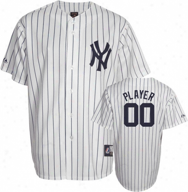 New York Yankees Cooperstown White/navy -any Player- Replica Jersey
