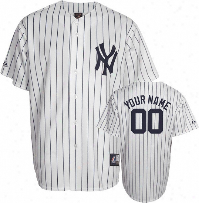 New York Yankees Cooperstown White/navy -personalized With Your Name- Replica Jersey