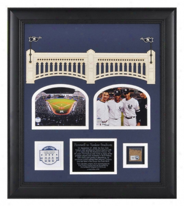 New York Yankees Framed Two 4x5 Final Season Collage With Game Used Dirt, Medallion And Plate