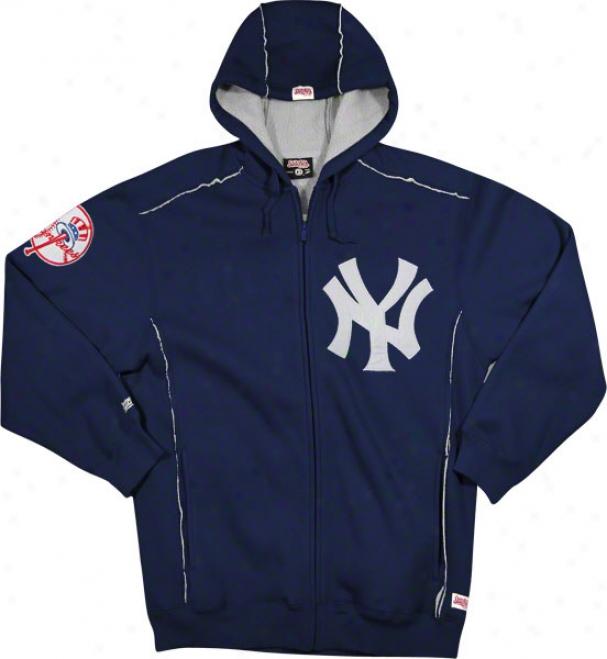 New York Yankees Navy Grand Slam Full-zip Sherpa Lined Thermal Hooded Jacket