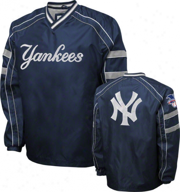 New York Yankees Navy V-neck Pullover Jacket