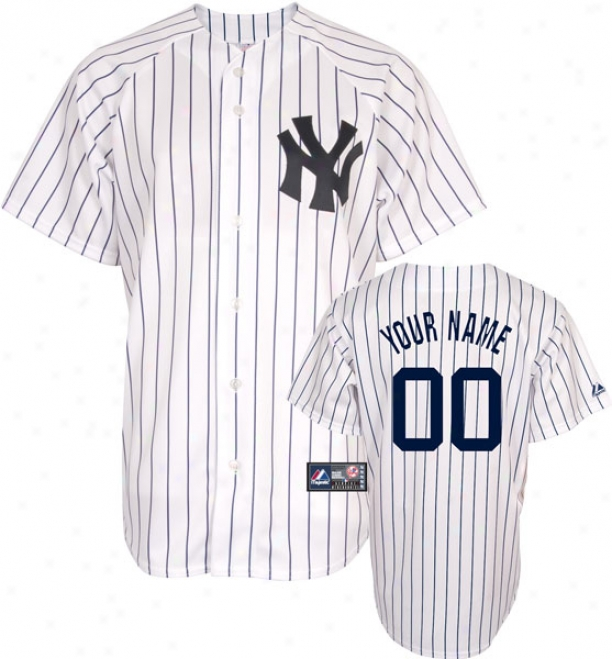 New York Yankees -personalized With Your Name- Home Mlb Replic aJersey