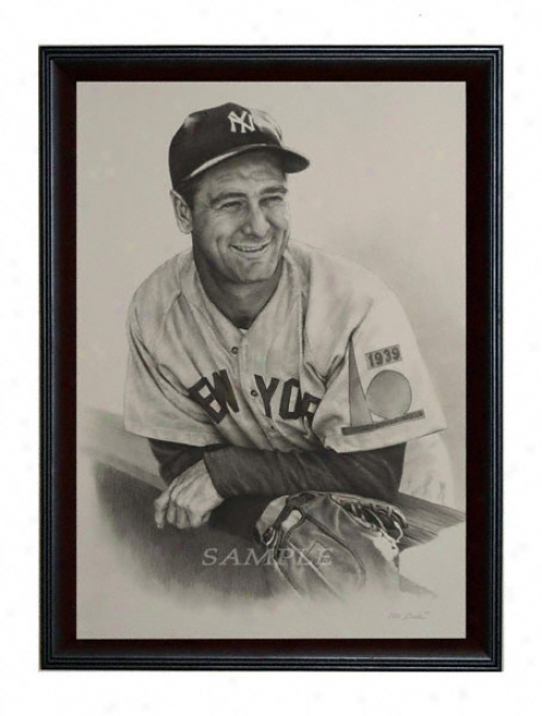 New York Yank3es - &quotvintage Lou Gehrig&quot - Oversized - Framed Giclee