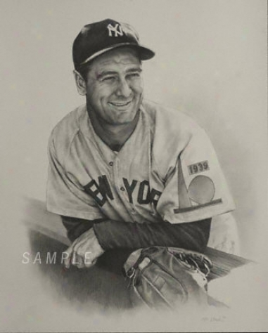 New York Yankees - &quotvintage Lou Gehrig&quot - Oversized - Unframed Giclee