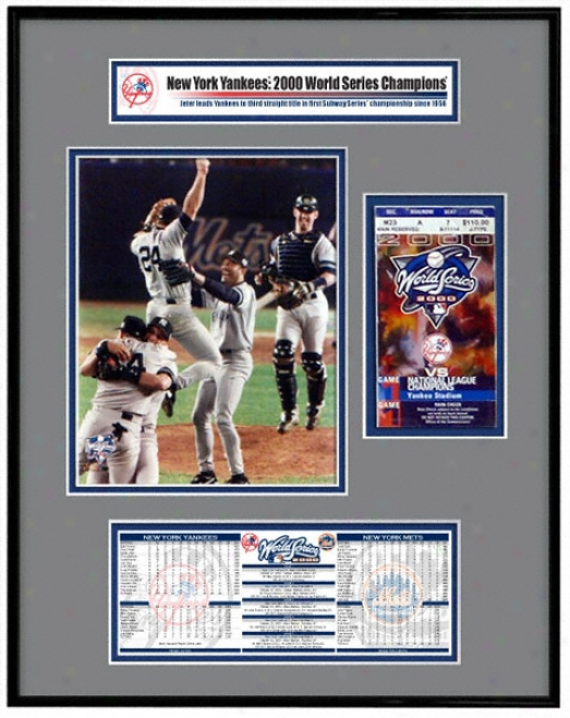 New York Yankees - Team Celebration - 2000 W0rld Serries Ticket Frame Jr.