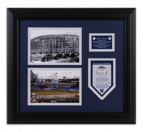 New York Yankees - Yankee Stadium 1923 And 2008 - Framed 5x7 Photographs With Cut Out