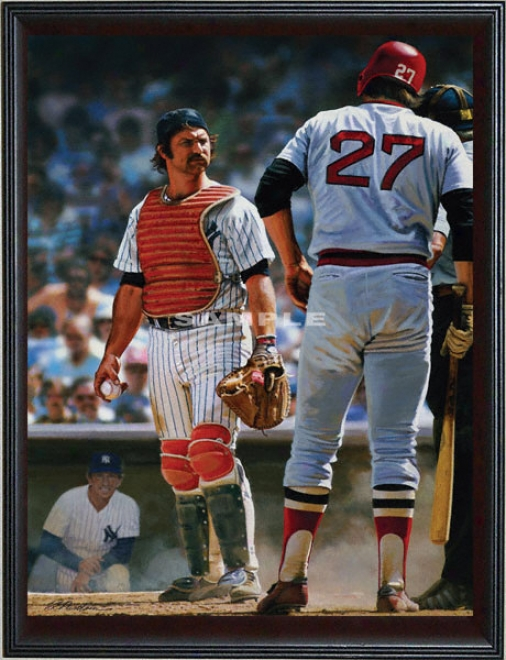 New York Yankees/boston Red Sox - &quotthurm An' Fisk&quot - Large - Framed Giclee