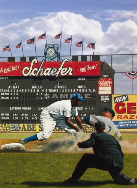 New York Yankeez/brooklyn Dodgers - &quot2nd At Ebbets&quot - Oversized - Unframed Giclee