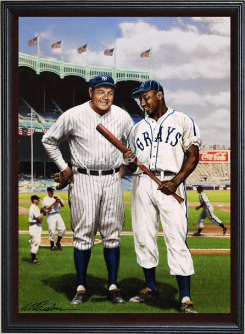 New York Yankees/homestead Grays - &quotjosh And The Babe&quot - Oversized - Framed Giclee
