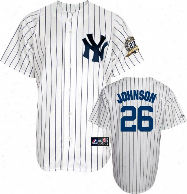 Nick Johnson Jersey: Adult Majestic Home Pinstripe Replica #26 New York Yankees Jersey