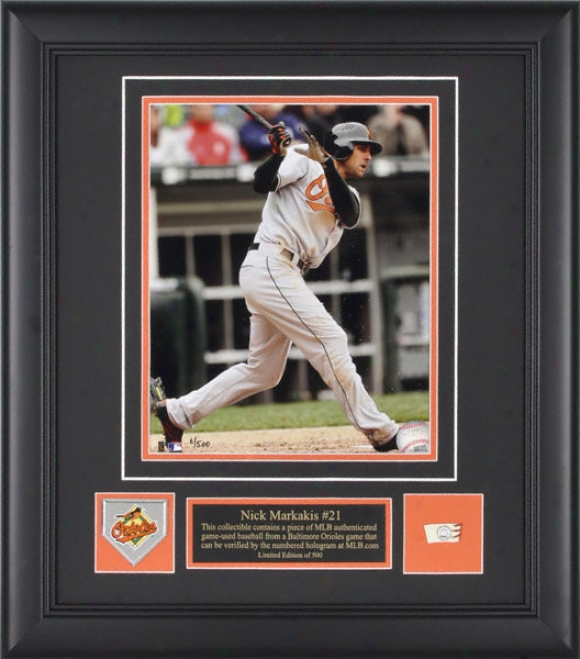 Nick Markakis Balgimore Orioles - Action - Framed 8x10 Photograph With Team Medallion And Game Used Baseball