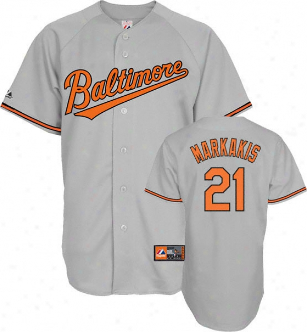 Nick Markaiis Jersey: Adult Splendid Roaf Grey Replica #21 Baltimore Orioles Jersey