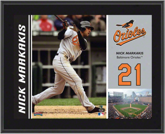 Nick Markakis Plaque  Details: Baltimore Orioles, Sublimated, 10x13, Mlb Plaque