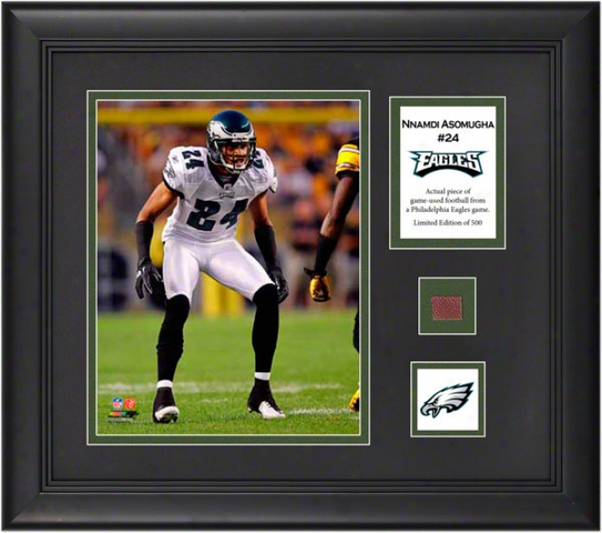 Nnamdi Asomugha Framed 8x10 Photograph  Details: Philadelphia Eagles, With Game Used Football Piece And Descriptive Plate