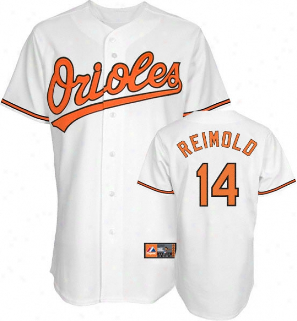 Nolan Reimold Jersey: Adylt Majestic Home White Replica #14 Baltimore Orioles Jersey
