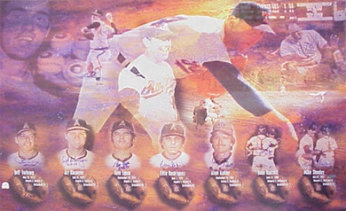 Nolan Ryan 7 No Hitters Commemorative 12x18 Lithograph Autographed By The 7 Catchers