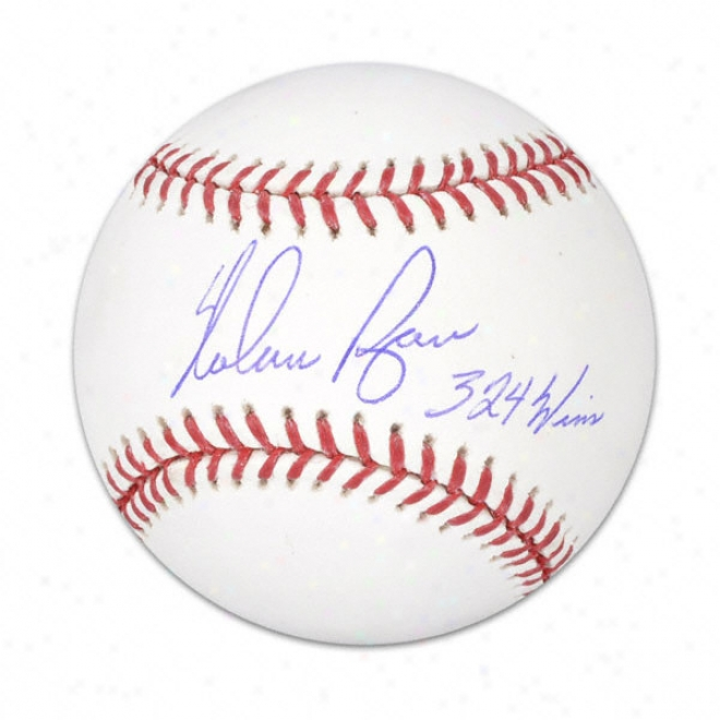 Nolan Ryan Autographed Baweball  Details: 324 Wins Inscription