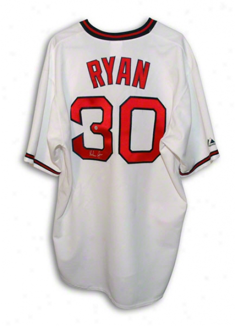 Nolan Ryan Autographed California Angels Majestic Throwback Jersey