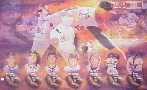Nolan Ryan Autographed Lithograph With &quot7 Catchers Of No Hitters&quot Signatures