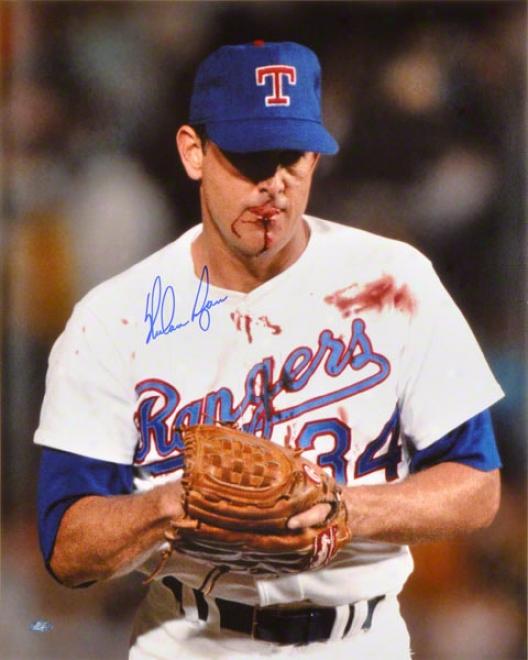 Nolan Ryan Texas Rangers - 'bloodied' - Autographed 16x20 Photo