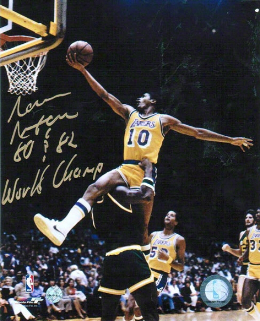 Norm Nixon Los Angeles Lakers Autographed 8x10 Photo High Flying Lyup