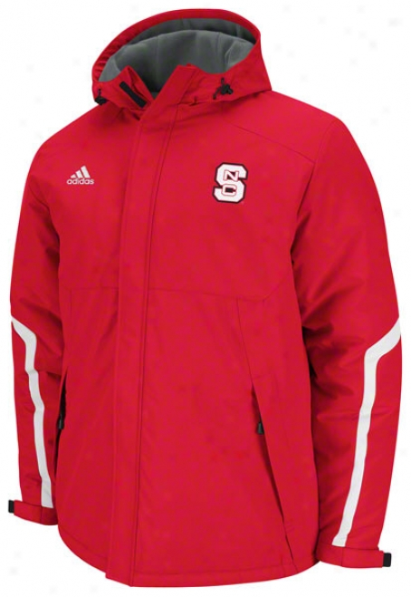 North Carolina State Wolfpack Adidas Red Football Sideline Heavyweight Hooded Jacket