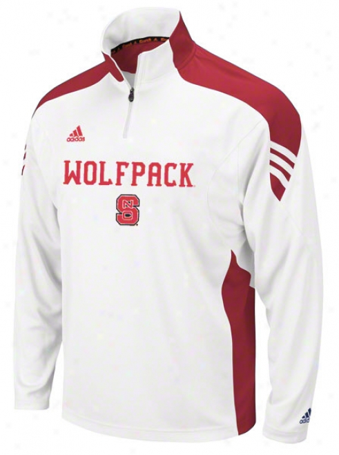 North Carolina State Wolfpack Adieas White Scorch Coaches Football Sideline 1/4 Zip Pullover Jacket