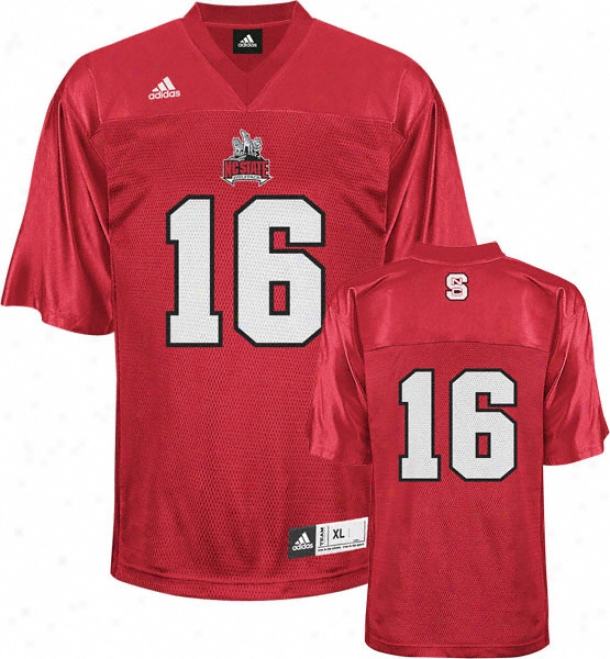 North Carolina State Wolfpack Football Jsrsey: Adidas #16 Red Replica Football Jersey