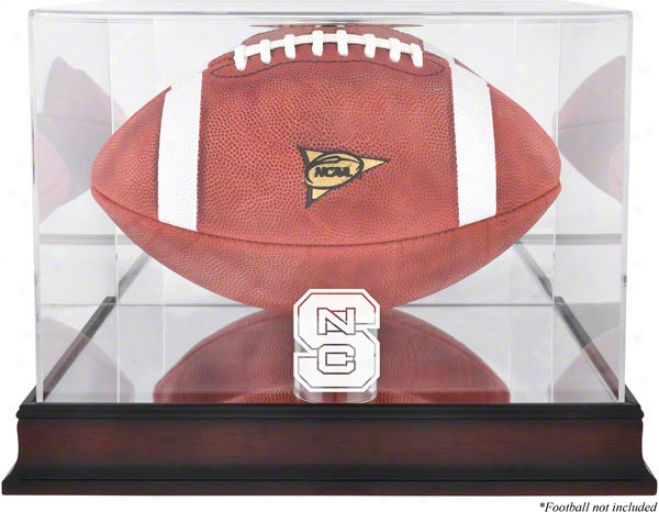 North Carolina State Wolfpack Logo Football Display Case  Details: Mahogany,M irror Back, Bottom