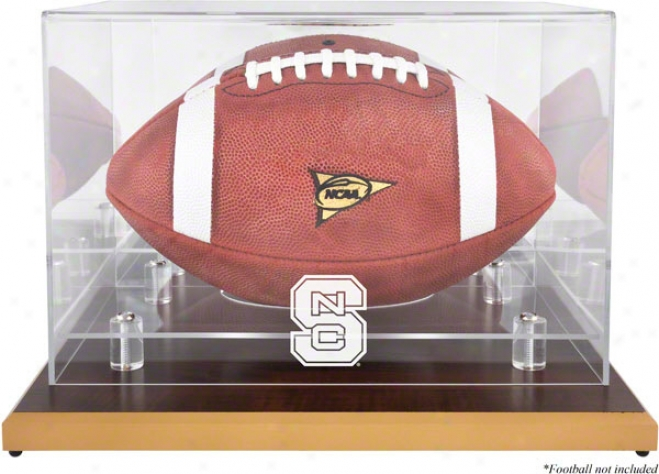 North Carolina Pomp Wolfpack Logo Football Diwplay Case  Details: Wood Base, Mirror Back