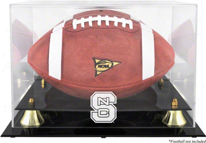 North Carolina State Wolfpack Logo Football Display Case  Details: Golden Classic ,Mirror Back
