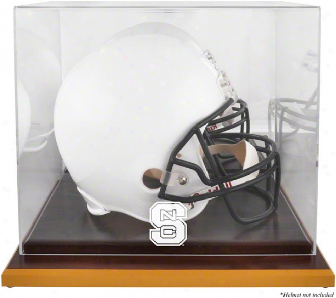 North Carolina State Wolfpack Logo Helmet Display Case  Details: Wood Base, Mirrored Back