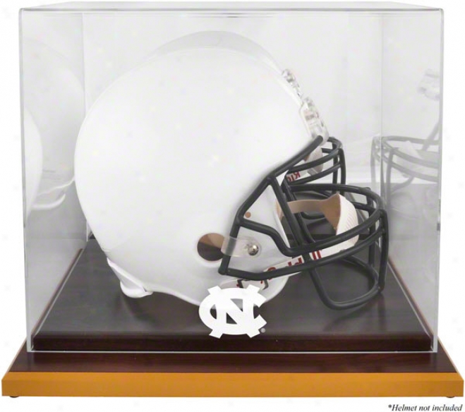 North Carolina Tar Heels Logo Helmet Display Case  Details: Wood Base, Mirrored Back