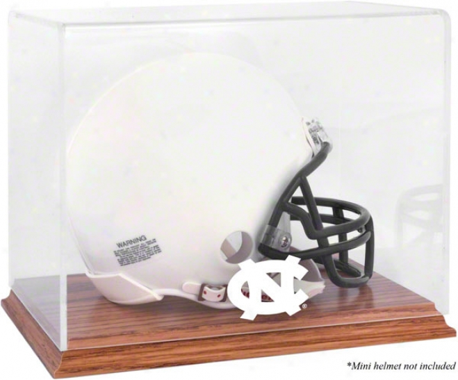 North Carolina Tar Heelq Team Logo Mini Helmet Didplay Case  Details: Oak Base
