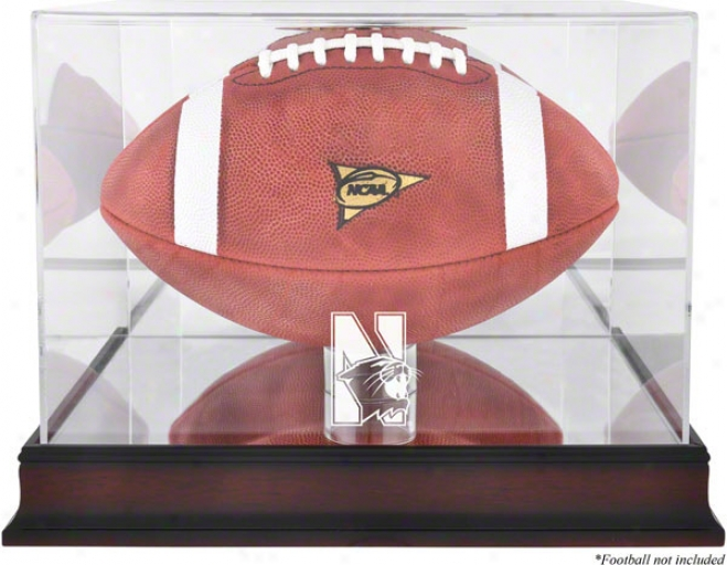 Northwestern Wildcats Log Football Display Case  Details: Mahogany, Mirror Back, Bottom