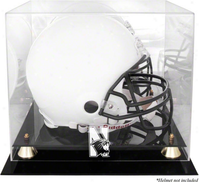 Northwestern Wildcats Logo Helmet Display Case  Details: Golden Classic, Mirrored Back