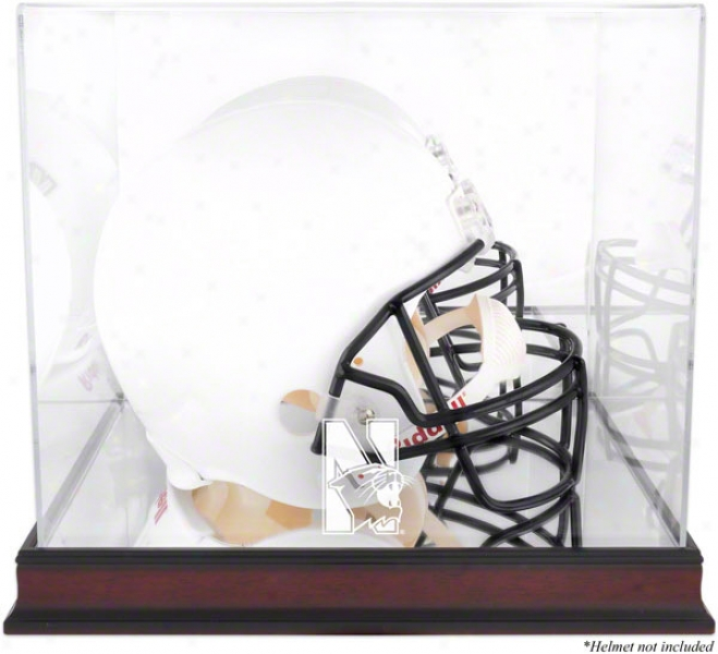 Northwestern Wildcats Logo Helmet Display Case  Details: Mahogany, Mirrored Back, Bottom