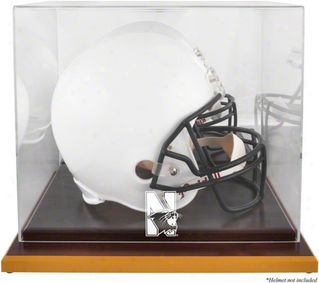 Northwestern Wildcats Logo Helm Display Case  Particulars: Wood Base, Mirrored Hindmost