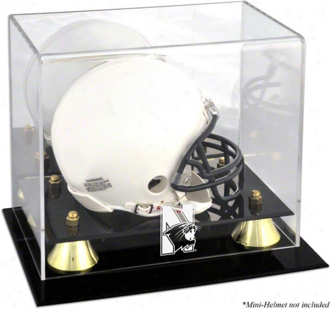 Northwestern Wildcats Logo Mini Helmet Display Case  Particulars: Golden Classic, Mirror Back