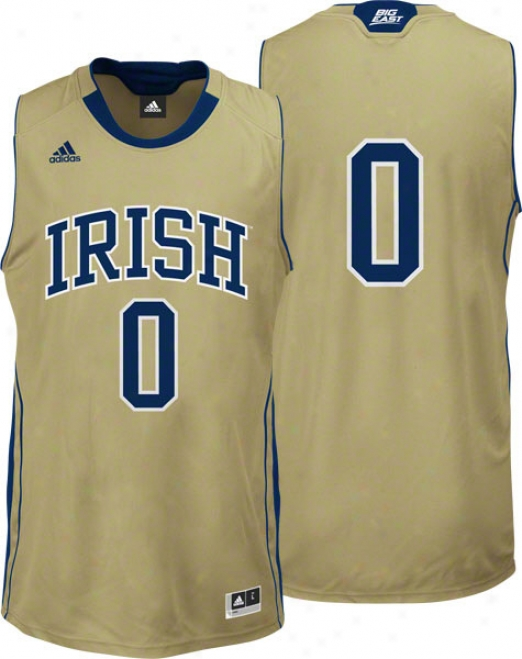 Notre Dame Fightiny Irish Adidsa #0 Gold Replica Basketball Jersey