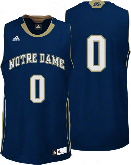 Notre Dame Fighting Iriah Adidas #0 Road Navy Replica Basketball Jersey
