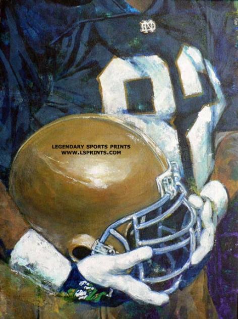 Notre Dame Fighting Irish - &qoutu Of Nd Helmet Series&quot - Large - Unframed Giclee