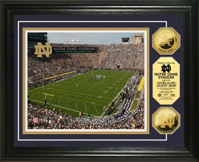 Notre Dame Fighting Irish Stadium 24kt Gold Coin Photo Mint