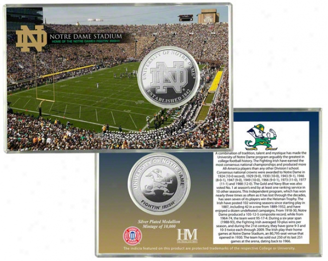 Notre Dame Fighting Irish Stadium Silver Coin Card