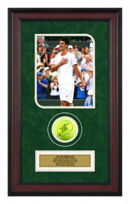Novak Djokovic 2007 Wimbledon Match Framed Autographef Tennis Ball With Photo