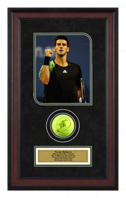 Novak Djokovic 2008 Us Open Framed Autographed Tennis Ball With Photo