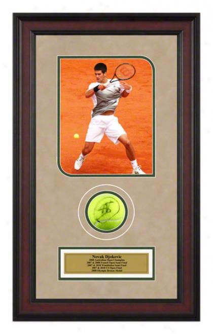Novak Djokovic Framed Autographed Tennis Ball With Photo