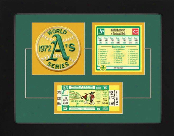 Oakland Athletics 1972 World Series Replica Ticket & Patch Frame