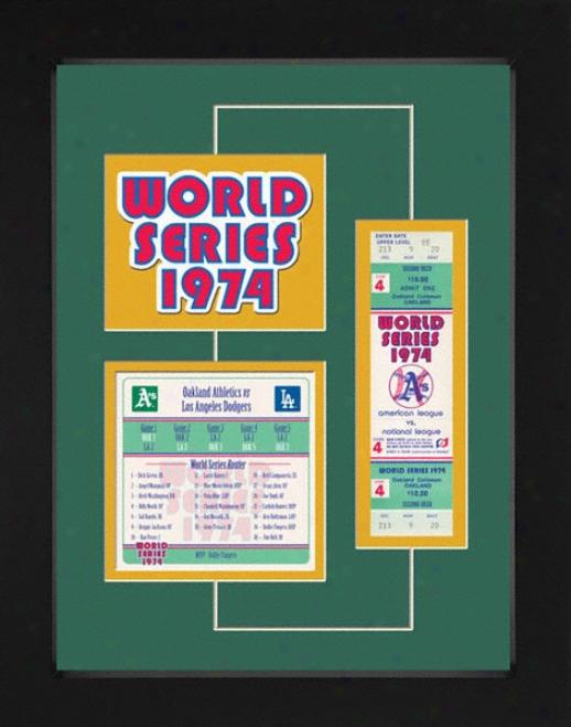 Oakland Athletics 1974 World Series Replica Ticket & Patch Frame
