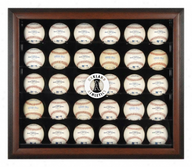 Oakland Athltics Brown Framed 30-ball Logo Display Case
